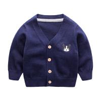 宝宝毛衣春季 新生儿衣服卡通小狗v领针织衫 1岁婴儿外套纯棉春款