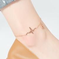 简韵饰品心电图脚链女小桃心钛钢延长链送朋友礼物脚踝链