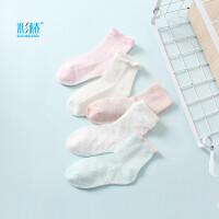 彩桥 女童袜子夏季薄款3-15岁中大童卡通短袜纯棉儿童袜子