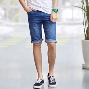 美特斯邦威男牛仔裤夏装新款男休闲基本款牛仔中短裤