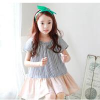 童装夏装新品韩版女童连衣裙中大童条纹拼接童裙
