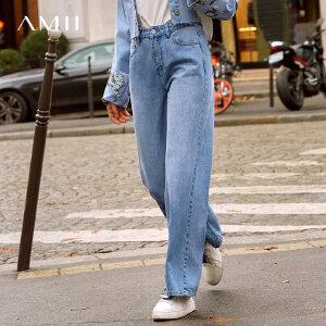 【1件5折到手价170】Amii极简网红chic浅蓝牛仔长裤2019春直筒阔腿做旧磨白百搭牛仔裤