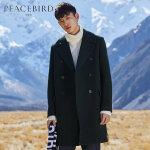 太平鸟男装 毛呢大衣男商务外套双排扣羊毛外套大翻领呢子大衣潮
