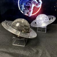 立体水晶拼图土星星球模型3d立体拼插塑料拼装diy手工生日礼物女
