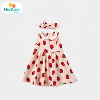 【2件2折】马卡乐童装22夏季新款宝宝甜美纯棉高腰女孩草莓无袖背心连衣裙