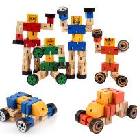 正品玩具 可以变形的木制神奇汽车人 6款随发木制变形机器人
