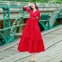 原创春夏新品韩版轻熟蕾丝钩花镂空连衣裙红色修身小礼服度假沙滩长裙GH04