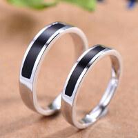 黑玛瑙情侣戒指女S925银饰品韩版开口对戒男一对原创意刻字