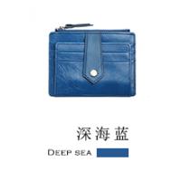 真皮卡包 女士牛皮零钱包 搭扣卡夹时尚韩版多卡位证件包