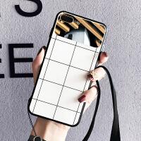 苹果x手机壳女iPhone7plus玻璃镜子格子6s情侣xs max挂绳8p补妆xr Xsmax 镜子 白底格子