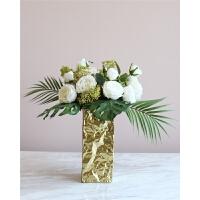 蓓蕾手感玫瑰花束仿真花假花套装客厅摆设装饰金色陶瓷瓶SN2132