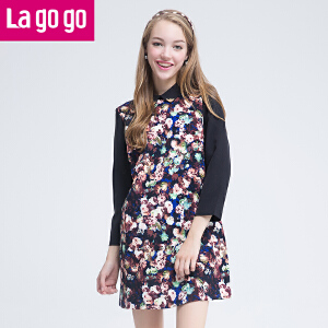 lagogo拉谷谷冬款印花百搭中长连衣裙