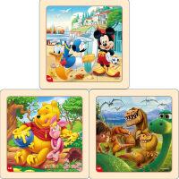 迪士尼拼图玩具 9片木制框拼标准版三合一(米奇2666+维尼2668+恐龙2672)