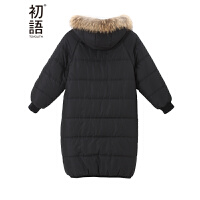 初语冬季新款 貉子毛领边中长款蓬松加厚净色棉衣外套女8640822604