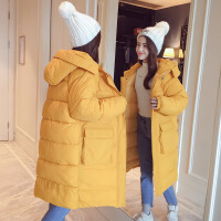 羽绒女中长款加厚棉袄2018新款韩版学生宽松bf棉衣冬季外套 大口袋黄色 S