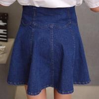 牛仔裙女夏2019韩版小个子学生高腰短裙蓬蓬半身裙百褶裙 深蓝色 带安全裤