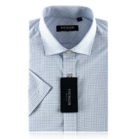 YOUNGOR雅戈尔 男士衬衣 商务正装 涤棉 格子 短袖衬衫SNP13326-23