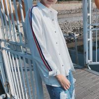 白衬衫男土长袖2017新款春季潮流学生日系小清新韩版帅气百搭村衫