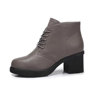 camel/骆驼女鞋2017秋冬新款时尚复古系带踝靴粗跟靴简约圆头短筒靴