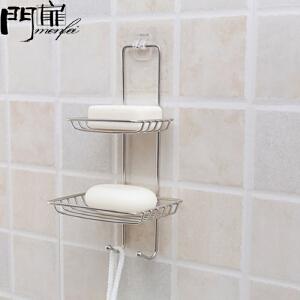 门扉 香皂架 卫浴用品不锈钢强力吸盘肥皂盒家居日用创意壁挂肥皂架沥水香皂盒吸盘多层双层 香皂盒
