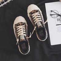 帆布鞋女学生韩版夏季2019新款港风板鞋百搭原宿潮豹纹布鞋夏季百搭鞋