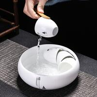 禅意水盂茶洗笔洗陶瓷水洗大号家用日式杯洗盖碗洗茶具配件六君子