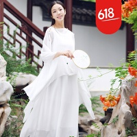 原创文艺套装连衣裙雪纺披肩开衫长裙复古森女系裙子不规则下摆设计感GH018