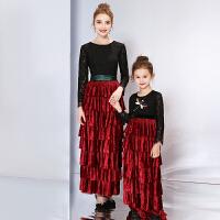 亲子装儿童礼服长袖万圣节女童花童公主裙走秀表演钢琴演出服