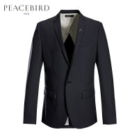 太平鸟男装秋季羊毛西装男薄款休闲修身便服单西金属胸针西服外套