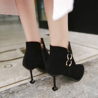靴子女学生韩版高跟鞋女细跟2019新款秋冬季短靴女尖头裸靴时装靴 黑色 7cm