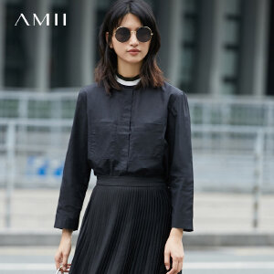 Amii极简100%纯棉长袖衬衫女2018春新款半高领中长宽松上衣.