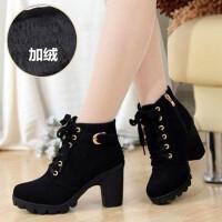 秋冬新款韩版高跟粗跟女靴子系带短筒靴女短靴马丁靴单靴女鞋棉靴 35 女款