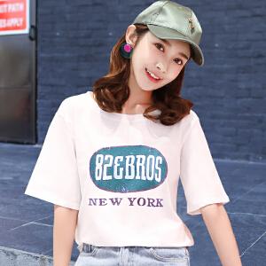 春季新款白色宽松短袖T恤女夏装韩版学生韩范上衣潮