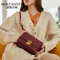 波斯丹顿女包新款时尚斜挎包宽肩豆腐包带锁扣小方包单肩包包BL1184171