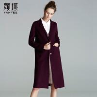 颜域品牌女装2017冬装新款欧美翻领收腰保暖羊毛双面呢大衣外套女