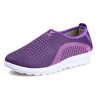 夏季网眼透气中老年人休闲运动女鞋软底妈妈鞋老人旅游健步鞋 紫色 紫色 36