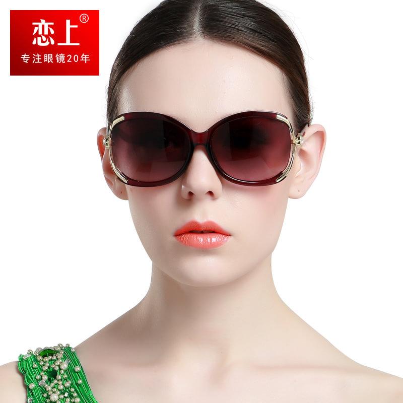 恋上LianSan2015年新款女士防紫外线太阳镜大框时尚板材气质墨镜1558