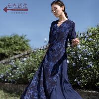 生活在左2019夏季新款女装文艺复古修身真丝碎花汉服连衣裙长裙子