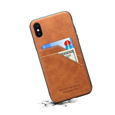苹果xs max插卡手机壳放卡男女防摔iPhone xr装卡后盖7/8plus创意 iPhoneXS Max(6.5寸)-棕色