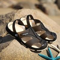 夏季男士凉鞋防滑厚低韩版凉拖鞋洞洞鞋男海边沙滩鞋潮流两用鞋子