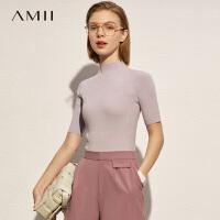 Amii木耳边短袖针织衫2021春新款紧身内搭薄款半高领打底衫上衣女