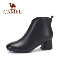 camel 骆驼女鞋 冬季新款 简约通勤高跟短靴 时尚粗跟真皮女靴子