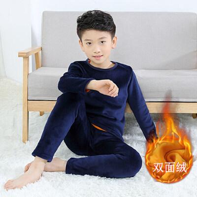 儿童秋衣秋裤睡衣新款中大童冬季加绒加厚 男童保暖内衣套装