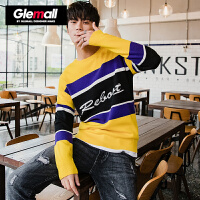 森马潮牌GLEMALL 针织衫男圆领毛衣大胆撞色精致字母提花浮夸单品打底衫