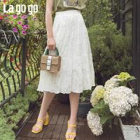 【清仓5折价116】Lgogo/2019年夏季新款时尚褶皱剪花雪纺半身裙女IABB374F54