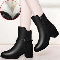 新款秋冬季短靴马丁靴女单靴子百搭雪地靴短筒粗跟加绒女鞋 深黑色 冬季保暖里