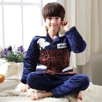 儿童睡衣男童冬季三层夹棉法兰绒中大童家居服套装