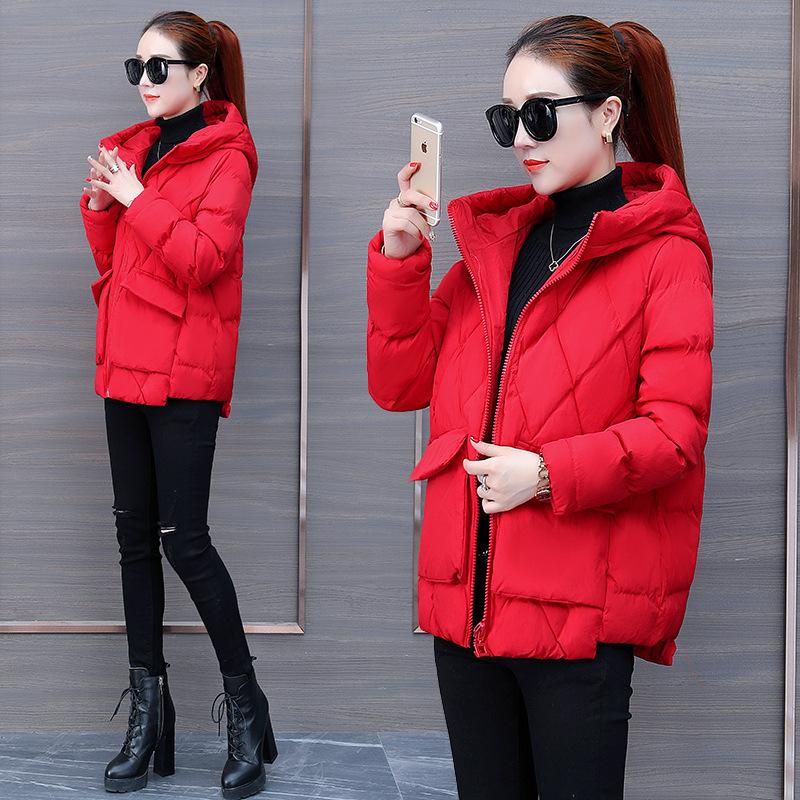 面包女短款2018冬季新款韩版棉袄chic流行外套ins羽绒棉衣潮 红色 M