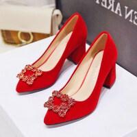 婚鞋女2019新款春季红色高跟新娘鞋中式粗跟敬酒鞋孕妇龙凤秀禾鞋
