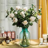仿真单支玫瑰套装复古做旧保加利亚玫瑰仿真花束单支客厅餐桌装饰花艺摆件假花套装